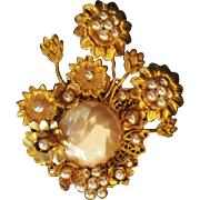 Vintage Signed Miriam Haskell Glass Pearl & Rhinestone Brooch
