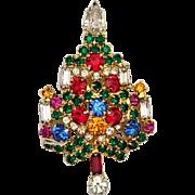 Vintage Signed Warner Christmas Tree Brooch