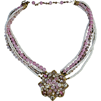 Vintage Signed Original by Robert Glass Bead, Crystal & Rhinestone Necklace