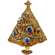 Gorgeous Vintage Signed Eisenberg Christmas Tree Brooch