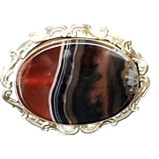 Impressive Antique Scottish Agate Brooch