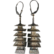 Antique Sterling Silver Pagoda Earrings