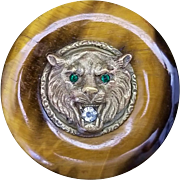 Antique German Silver and Tiger Eye Lion Head Brooch