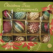 Scarce Vintage Box Set of Glass Christmas Tree Ornaments