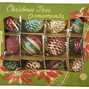 Scarce Vintage Box Set of Glass Christmas Tree Ornaments