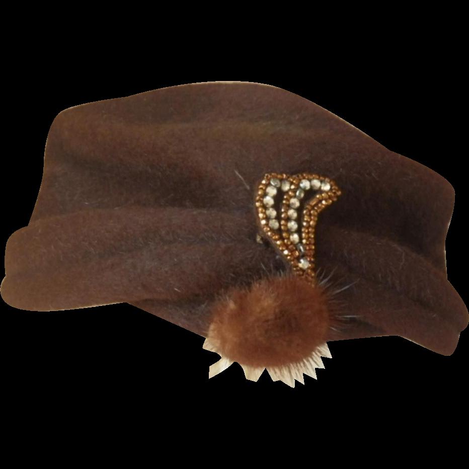 Vintage Brown Wool Ladies Hat