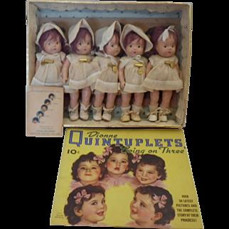 Vintage Madame Alexander Set of Dionne Quintuplet Dolls