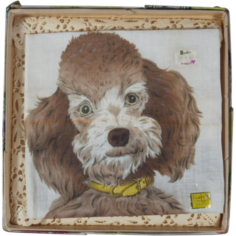 Vintage Poodle Dog Handkerchief in Gift Box