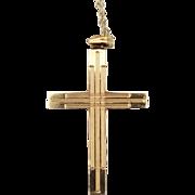 Vintage Signed 14 Karat Gold Cross Pendant Necklace