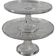Rare Set of Two Early American Pressed Glass Cake Stands