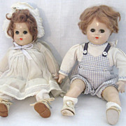 SPECIAL Christmas Price!  Vintage Madame Alexander Butch & Bitsy Composition Dolls