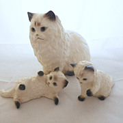 Vintage Hagen Renaker Set of Three: Large Cat & Kittens