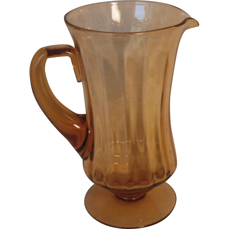 Hard to Find Vintage Fostoria Amber Glass Pitcher