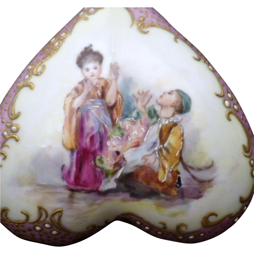 Antique Signed Klingenberg Porcelain Covered Box