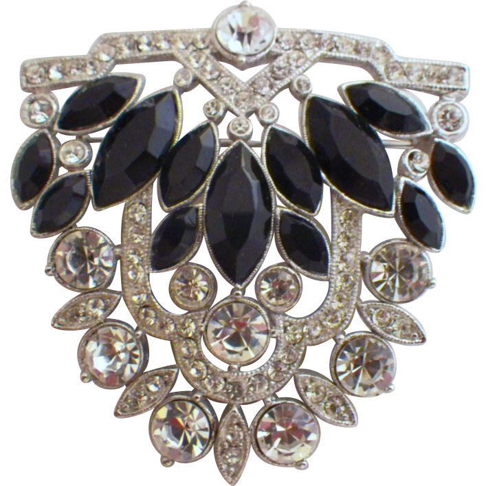 "Vintage Signed ""ORA"" Rhodium Plated Rhinestone Brooch"