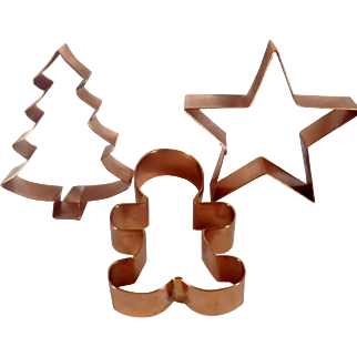 Group of Three Vintage Copper Cookie Cutters