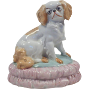 Vintage Staffordshire Style Dog on Pillow Figurine