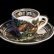 "Scarce Midwinter Ltd. ""Rural England"" Pattern Demitasse Cup & Saucer Set"
