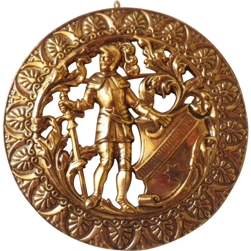 Vintage Gold Tone Knight Brooch or Pendant