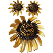 Vintage Signed BSK Enamel Sunflower Demi Parure Set