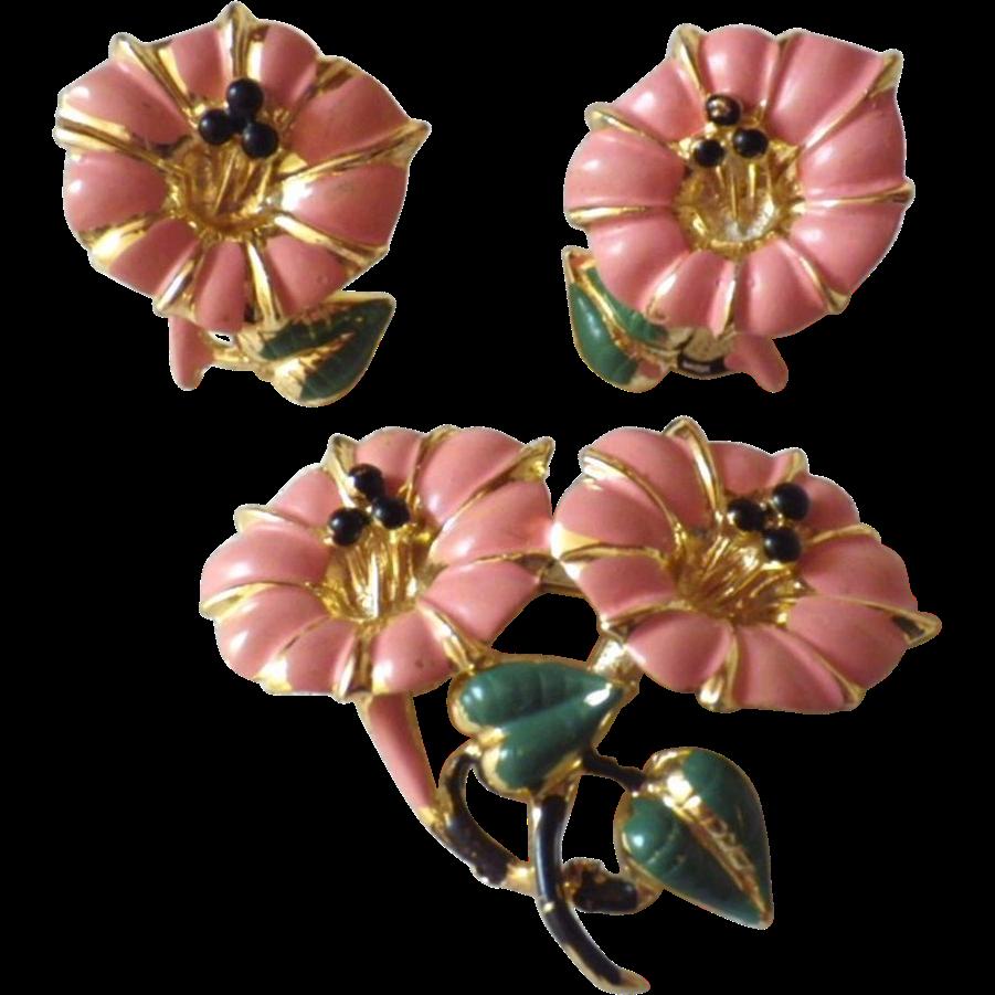 Vintage Gold Plate Enamel Flower Demi Parure