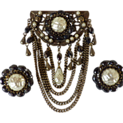 Vintage Swag Brooch and Matching Earrings Demi Parure