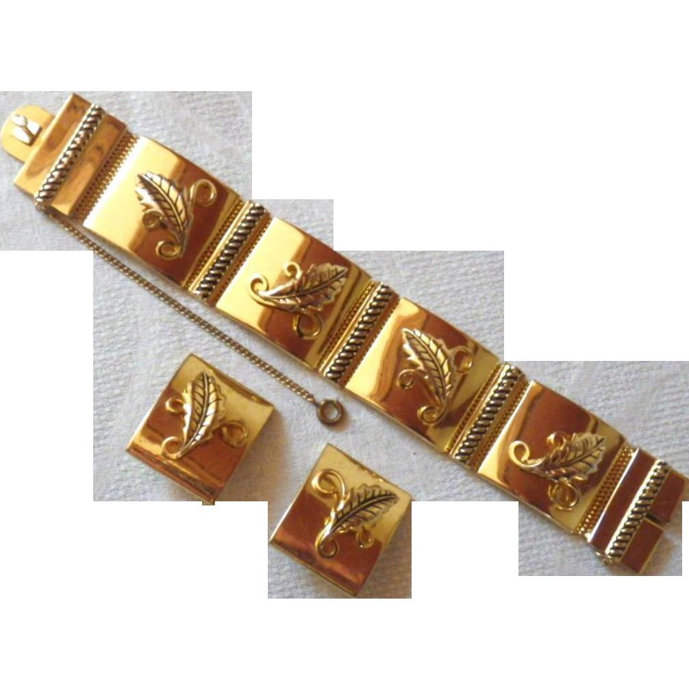 Vintage Signed Whiting & Davis Goldtone Demi Parure - Bracelet & Earrings