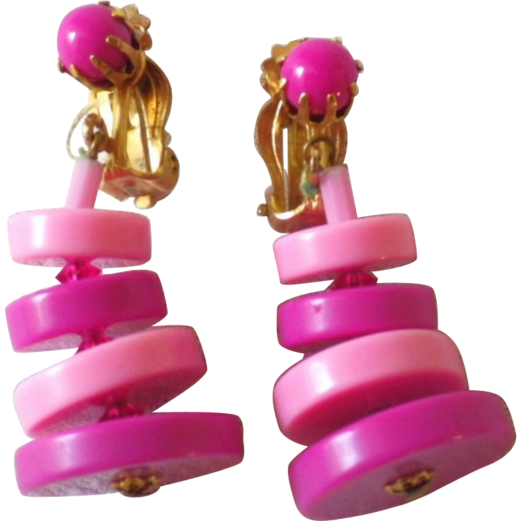 Vintage Pair of Early Plastic Dangle Earrings