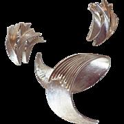 Vintage Signed Trifari Silvertone Demi Parure - Brooch & Earrings