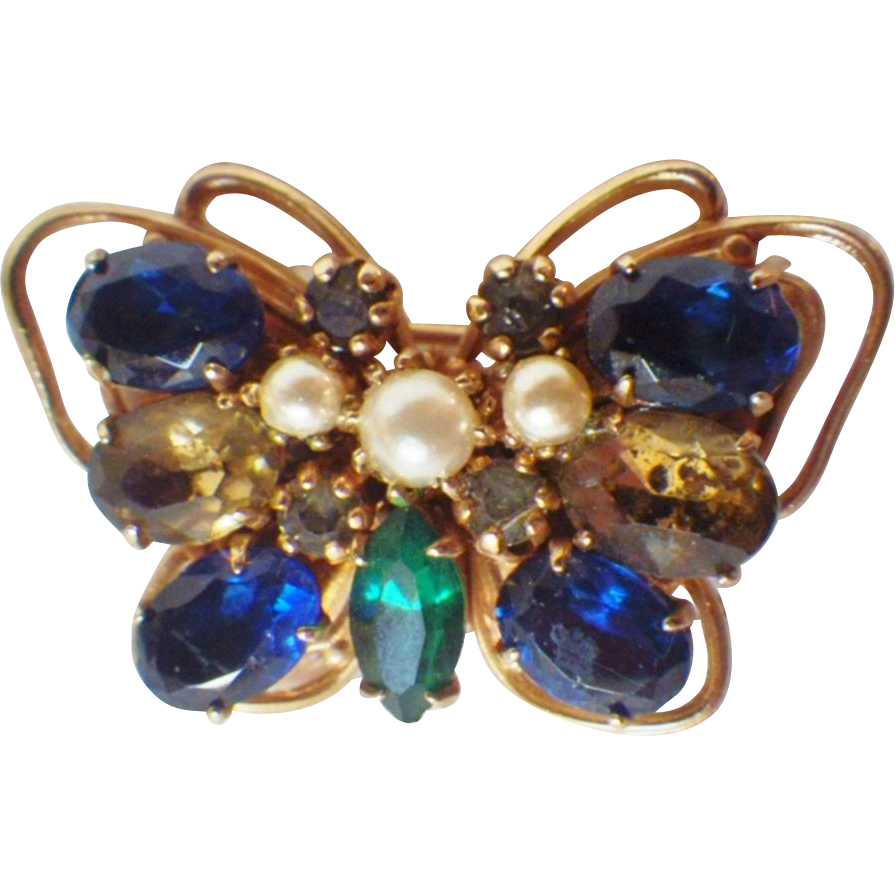 Vintage Signed Accessocraft Butterfly Brooch