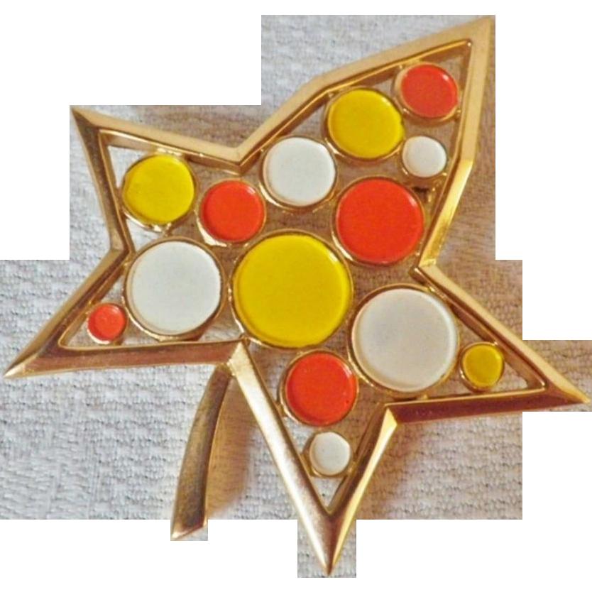 Vintage Rare Signed Trifari Mod Polka Dot Leaf Brooch