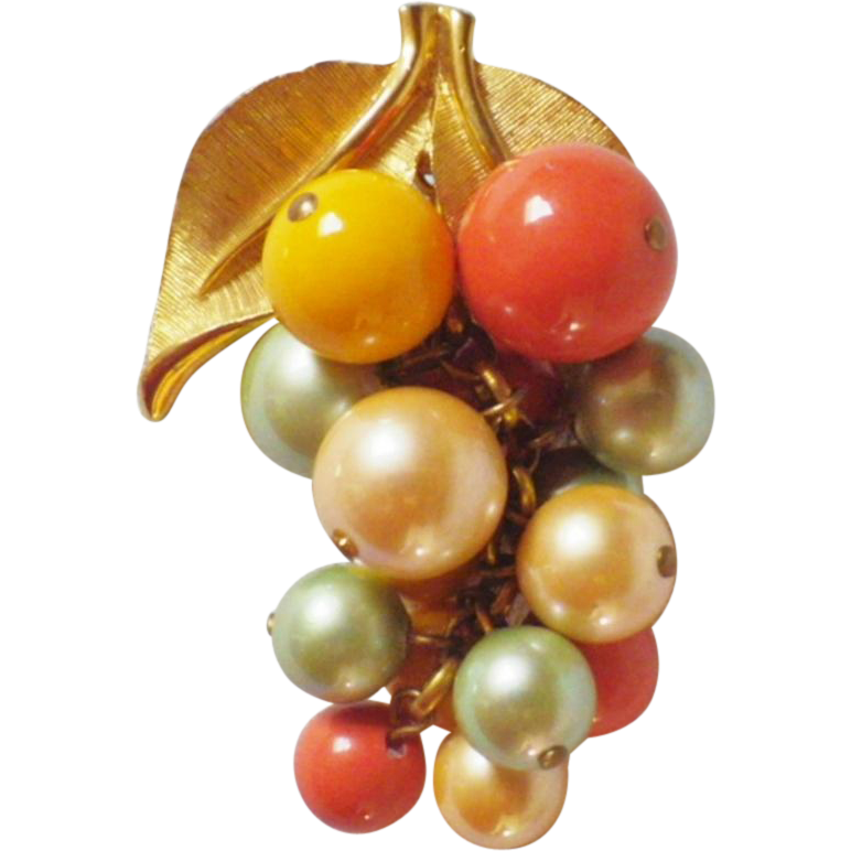 Vintage Gold Tone & Bead Grape Bunch Brooch or Pendant