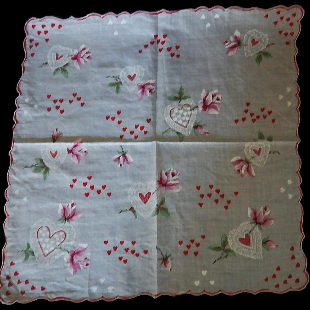 Vintage Valentine Handkerchief