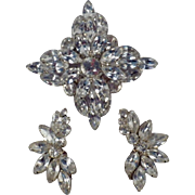 Vintage Demi Parure - Large Rhinestone Brooch & Matching Earrings