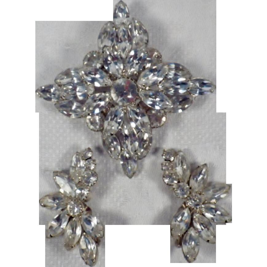 Vintage Demi Parure - Large Rhinestone Brooch & Matching Earrings