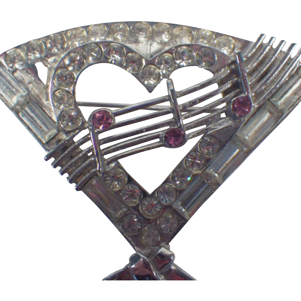 Scarce Vintage Signed Musical Fan Heart Brooch or Pendant