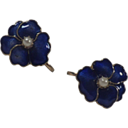 Vintage Cobalt Blue Enamel & Faux Seed Pearl Flower Earrings