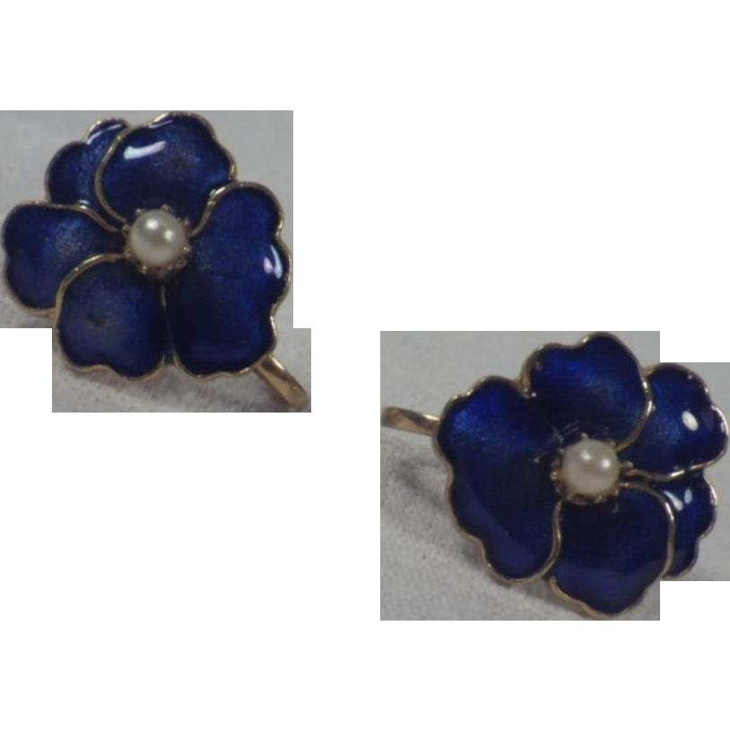Vintage Cobalt Blue Enamel & Faux Seed Pearl Flower Earrings