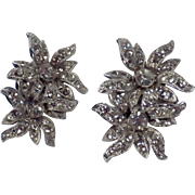 Vintage Pair Signed ORA Rhinestone Earrings