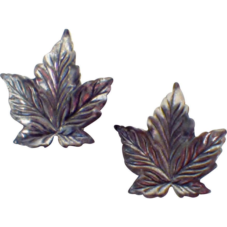 Vintage Pair Silver Leaf-Shape Pins