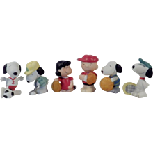 Vintage Set of Six Peanuts Characters Bisque Figurines - Red Tag Sale Item
