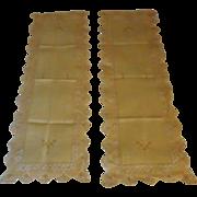 Vintage Pair of Ecru Linen Runners