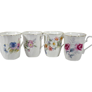 Vintage Set of Four English Bone China Mugs
