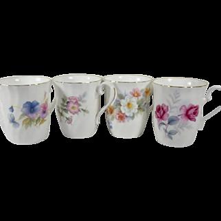 Vintage Set of Four English Bone China Mugs