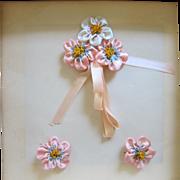 Boag Ombre Pink Silk Ribbon Work Flowers Lingerie Pins BOAG Original Box Unused