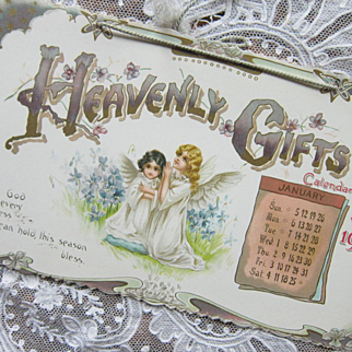 Edwardian Art Nouveau 1902 Heavenly Gifts Hanging Calendar Color Floral Little Girl Angels Original Envelope