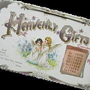 Edwardian Art Nouveau 1902 Heavenly Gifts Hanging Calendar Color Floral Little Girl Angels Original Envelope