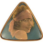 Vintage 1920s Real Photo Flapper Cardboard Candy Box Watered Silk Roses Paper Paper Lace Triangle Box