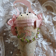 Darling Edwardian Ribbon Work Watered Silk Garland Hanging Pincushion Emery FancyWork