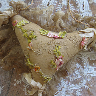 Victorian Exquisite French Boudoir Hanging Lace Pincushion Silk Ombre Ribbon Work Tiny Beads